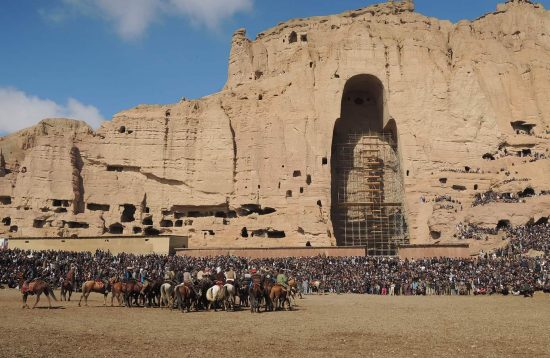 Buzkashi in the shadow of the Buddha niches